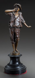 Bronze:European, A BRONZE FIGURE OF A BOY, AFTER FRANZ ROSSE. Franz Rosse,(1858-1900). Marks: F. Rosse. 1987. 15-1/2 inches high (39.4c...
