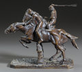 Bronze:European, A BRONZE STEEPLECHASE GROUP, AFTER ISIDORE JULES BONHEUR. (French,1827-1901), 20th century. Marks: I. BONHEUR. 10-3/4 x...