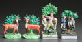 Ceramics & Porcelain, British:Modern  (1900 1949)  , FOUR STAFFORDSHIRE BOCAGE FIGURAL GROUPS. Early 20th century. 8-3/4inches high (22.2 cm) (tallest). ... (Total: 4 Items)