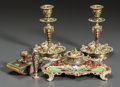 Decorative Arts, Continental:Other , A FIVE-PIECE CHAMPLEVÉ ENAMEL AND GILT BRONZE DESK SET . Early 20thcentury. 6 inches high (15.2 cm) (candlestick). ... (Total: 5Items)