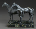 Bronze:American, A BRONZE FIGURAL GROUP OF TWO HORSES. 20th century. 7-1/4 incheshigh (18.4 cm). ...