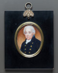 Decorative Arts, British, A FRAMED WATERCOLOR PORTRAIT MINIATURE POSSIBLY OF SIR JOSEPH BAKER. 19th century. Marks: EW. 3 inches high x 2-1/4 inch...
