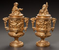 Decorative Arts, French, A PAIR OF FRENCH GILT BRONZE COVERED URNS. Late 19th/early 20thcentury. 13-1/2 inches high (34.3 cm). ... (Total: 2 Items)