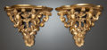 Decorative Arts, French, A PAIR OF CARVED GILT WOOD FIGURAL WALL BRACKETS. Late 19th/early20th century. 11-1/2 inches high (29.2 cm). ... (Total: 2 Items)