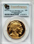 Modern Bullion Coins, 2013-W $50 One-Ounce Gold American Buffalo, First Strike PR70 DeepCameo PCGS. .9999 Fine. PCGS Population (0). NGC Census...