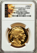 Modern Bullion Coins, 2013-W $50 One-Ounce Gold Buffalo, First Releases PR70 Ultra CameoNGC. .9999 Fine. NGC Census: (1009). PCGS Population (0...