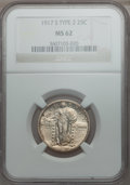 Standing Liberty Quarters: , 1917-S 25C Type Two MS62 NGC. NGC Census: (57/265). PCGS Population(59/352). Mintage: 5,552,000. Numismedia Wsl. Price for...