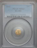California Fractional Gold: , 1866 25C Liberty Round 25 Cents, BG-804, R.4, MS63 PCGS. PCGSPopulation (15/55). NGC Census: (6/9). ...