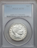 Barber Half Dollars: , 1902-S 50C AU55 PCGS. PCGS Population (8/45). NGC Census: (1/40).Mintage: 1,460,670. Numismedia Wsl. Price for problem fre...