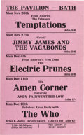"Music Memorabilia:Posters, Who, Electric Prunes, Temptations ""The Pavilion"" Handbill (Bath,England, 1967). ..."