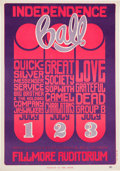 "Music Memorabilia:Posters, Quicksilver Messenger Service/ Big Brother & the HoldingCompany/ Grateful Dead ""Independence Ball"" Fillmore Concert PosterBG..."