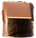 Luxury Accessories:Accessories, Christian Louboutin Brown Fur and Leather Expandable Flap Bag with Gold Hardware. ...