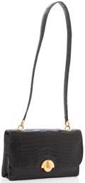 Luxury Accessories:Bags, Hermes Shiny Black Crocodile Sac Demi Lune Bag with Gold Hardware....