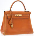 Luxury Accessories:Bags, Hermes 28cm Gold Calf Box Leather Retourne Kelly Bag with GoldHardware. ...