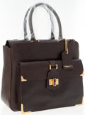 Luxury Accessories:Accessories, Fendi Dark Brown Embossed Leather Bag with Brushed Gold Hardware....