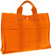 Hermes Orange Canvas Fourre Tote Bag