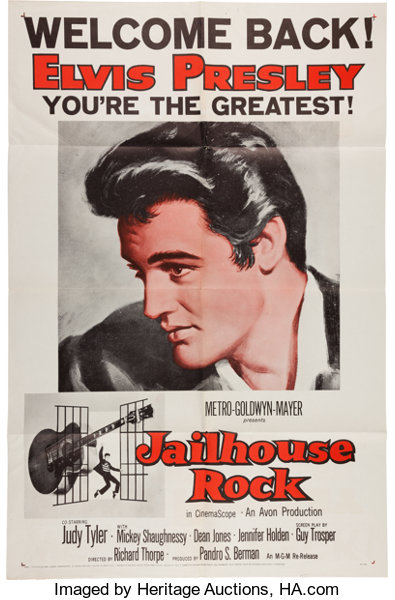 Music MemorabiliaPosters Elvis Presley Jailhouse Rock Movie Poster MGM R