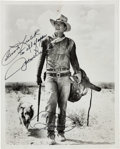 Movie/TV Memorabilia:Autographs and Signed Items, A John Wayne Signed Black and White Photograph, 1970s....