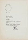 Movie/TV Memorabilia:Autographs and Signed Items, A Steve McQueen Signed Letter, 1968....