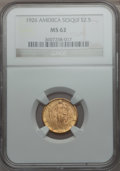 Commemorative Gold: , 1926 $2 1/2 Sesquicentennial MS62 NGC. NGC Census: (1202/5587).PCGS Population (1372/8834). Mintage: 46,019. Numismedia Ws...