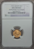 Commemorative Gold: , 1922 G$1 Grant No Star -- Improperly Cleaned -- NGC Details. Unc.NGC Census: (2/1179). PCGS Population (8/1984). Mintage: ...
