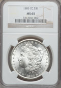 Morgan Dollars: , 1883-CC $1 MS65 NGC. NGC Census: (4067/1120). PCGS Population(7551/1988). Mintage: 1,204,000. Numismedia Wsl. Price for pr...