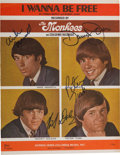 "Music Memorabilia:Autographs and Signed Items, Monkees Signed ""I Wanna Be Free"" Sheet Music (Screen Gems-ColumbiaMusic, 1966). ..."