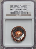 Errors, 1999 1C Lincoln Cent -- Two Planchet Obverse Die Cap (5.0 Grams) --MS65 Red NGC....