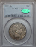 Barber Half Dollars: , 1913-D 50C MS63 PCGS. CAC. PCGS Population (42/75). NGC Census:(39/78). Mintage: 534,000. Numismedia Wsl. Price for proble...