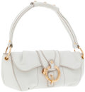Luxury Accessories:Bags, Tod's White Leather Shoulder Bag with Gold Hardware. ...