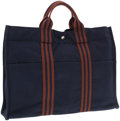 Luxury Accessories:Accessories, Hermes Navy Blue and Brown Canvas Fourre Tout MM Tote Bag . ...