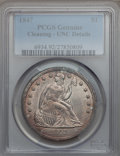 Seated Dollars: , 1847 $1 -- Cleaned -- PCGS Genuine. Unc Details. NGC Census:(2/69). PCGS Population (5/52). Mintage: 140,750. Numismedia W...