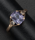 Estate Jewelry:Rings, Synthetic Color Change Sapphire, Clear Stone, Gold Ring. ...