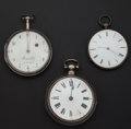 Timepieces:Pocket (pre 1900) , Two Verge Fusee & One Ultra-Thin Silver Key Wind PocketsWatches. ... (Total: 3 Items)