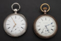 Timepieces:Pocket (pre 1900) , Swiss Silver Key Wind & Hampden Silver 18 Size Pocket Watches.... (Total: 2 Items)