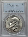 Eisenhower Dollars: , 1978-D $1 MS66 PCGS. PCGS Population (536/1). NGC Census: (572/4). Mintage: 33,012,890. Numismedia Wsl. Price for problem f...
