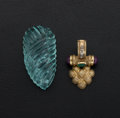 Estate Jewelry:Lots, Emerald, Ruby, Gold Pendant and Unmounted Aquamarine. ... (Total: 2Items)