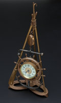 Timepieces:Clocks, Ansonia Nautical Brass & Metal Stand Clock. ...