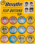 Music Memorabilia:Memorabilia, Beatles Lenticular Pin-Back Button (Badge) Original Display with 12 Flicker Buttons.... (Total: 13 Items)