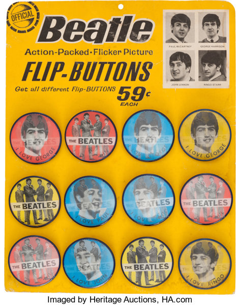 Beatles Lenticular Pin-Back Button (Badge) Original Display with 12