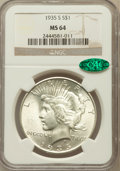 Peace Dollars: , 1935-S $1 MS64 NGC. CAC. NGC Census: (893/487). PCGS Population(1406/776). Mintage: 1,964,000. Numismedia Wsl. Price for p...