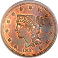 Proof Large Cents, 1841 1C PR65 Red and Brown PCGS. CAC. N-1, R.5....