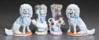A PAIR OF PORCELAIN POODLES TOGETHER WITH A PAIR OF BOOT VASES WITH A DOG AND CAT Late 19th/early 20th century