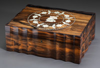 AN OAK AND INLAID TABLE CASKET Early 19th century Marks: PATENT (partially effaced to interior brass