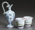 Ceramics & Porcelain, Continental:Antique  (Pre 1900), A FRENCH FAIENCE EWER AND PAIR OF POTS. Circa 1900. Marks:VP, (indecipherable mark to ewer). 9-3/8 inches high (23.8cm... (Total: 3 Items)