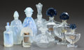 Art Glass, NINE GLASS PERFUMES. 20th century. 6-1/8 inches high (15.6 cm)(largest Shalimar). ... (Total: 9 Items)