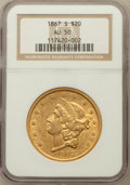 Liberty Double Eagles: , 1867-S $20 AU50 NGC. NGC Census: (152/562). PCGS Population(72/138). Mintage: 920,750. Numismedia Wsl. Price for problem f...