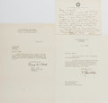 Autographs:Military Figures, Group of Three U.S. General Letters... (Total: 3 Items)