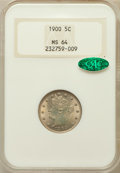 Liberty Nickels: , 1900 5C MS64 NGC. CAC. NGC Census: (307/203). PCGS Population(335/200). Mintage: 27,255,996. Numismedia Wsl. Price for pro...