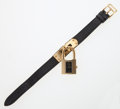 Luxury Accessories:Accessories, Hermes Gold Plated Kelly Watch with Black Epsom Leather Strap. ...